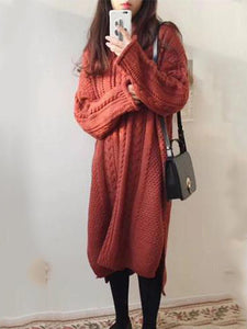 Casual Loose Long Sleeved Knitted Maxi Dress