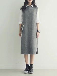 Fashion Round Neck Pure Colour Knitted Vest Dresses