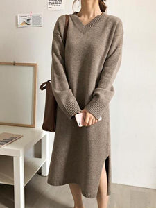 Fashion V Neck Split Loose Knitted Sweater Maxi Dress