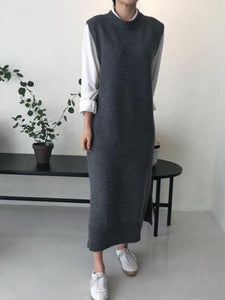 Fashion  Pure Color Long Knitted Vest Sweater  Maxi Dress