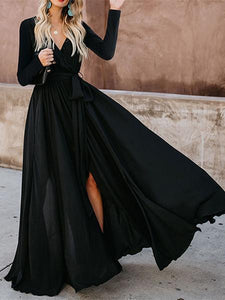 Sexy Deep V Collar Plain Slim Slit Evening  Dress