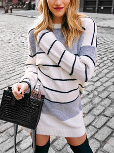 Casual Striped Long Sleeve Knitted Dresses