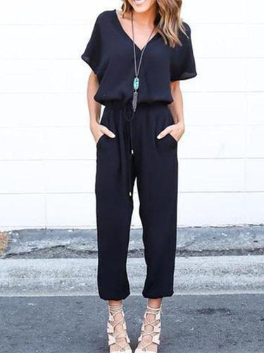 V Neck Short Sleeve Plain Pocket Casual Jumpsuits