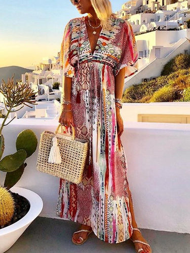 Casual Printed Colour V Neck Short Sleeve Maxi Dress