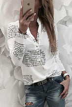 Load image into Gallery viewer, Turn Down Collar  Single Breasted  Letters Blouses