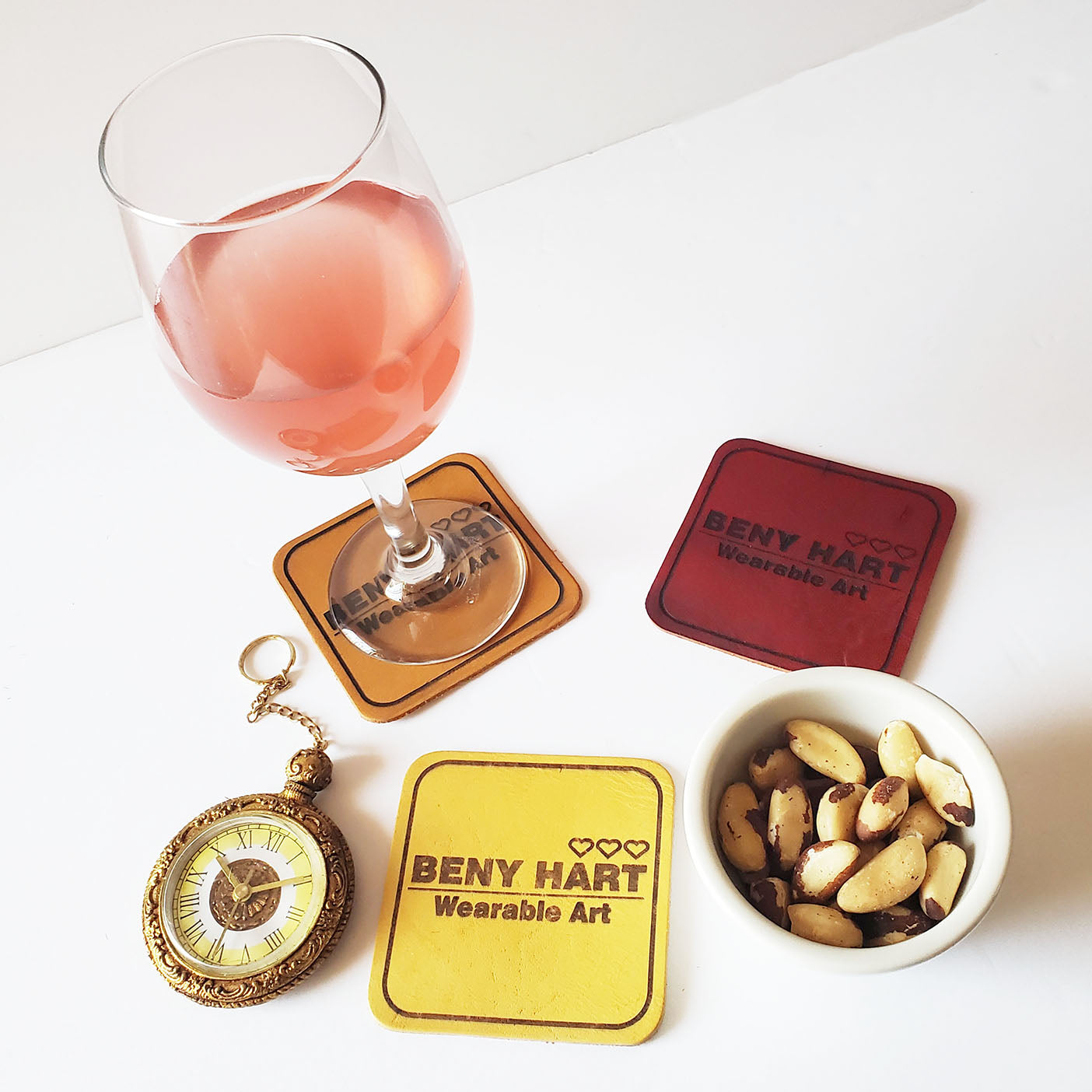 BENY HART - Custom Personalized Leather Coasters