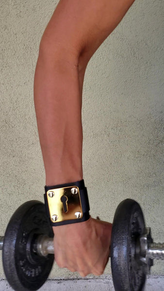 Beny Hart. Leather Bracelet-KS. In black leather with 24k gold or chrome plated hardware. Unisex.