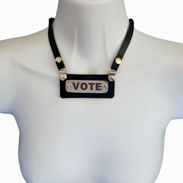 Leather Vote NECKLACE - For your special events! - BENY HART - Wearable Art - handmade Luxury Leather Fashion & Accessories