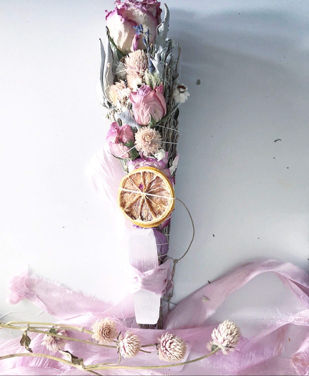 Pretty In Pink + Floral Sacred Smudge Wand +  Selenite