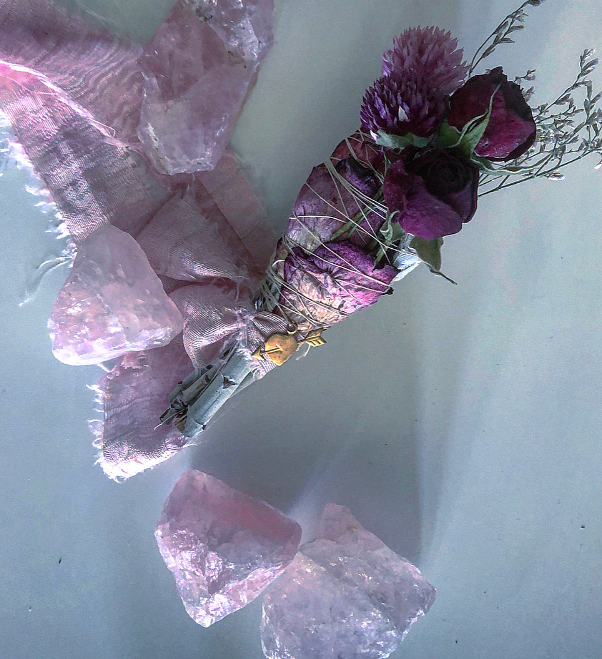LOVE SPELL FLORAL SAGE BUNDLE + Rose Quartz Healing Crystal