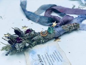 SISTER MOON SACRED FLORAL SMUDGE + Healing Crystal