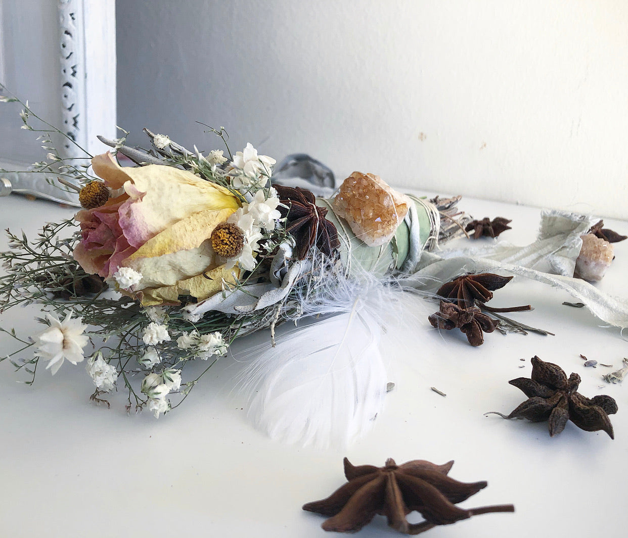 PRETTIEST STAR     Floral Sage Wand + Citrine Cluster + Star Anise