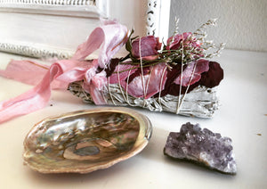 ETERNITY LOVE BUNDLE   White Sage + Roses + Amethyst + Abalone Shell