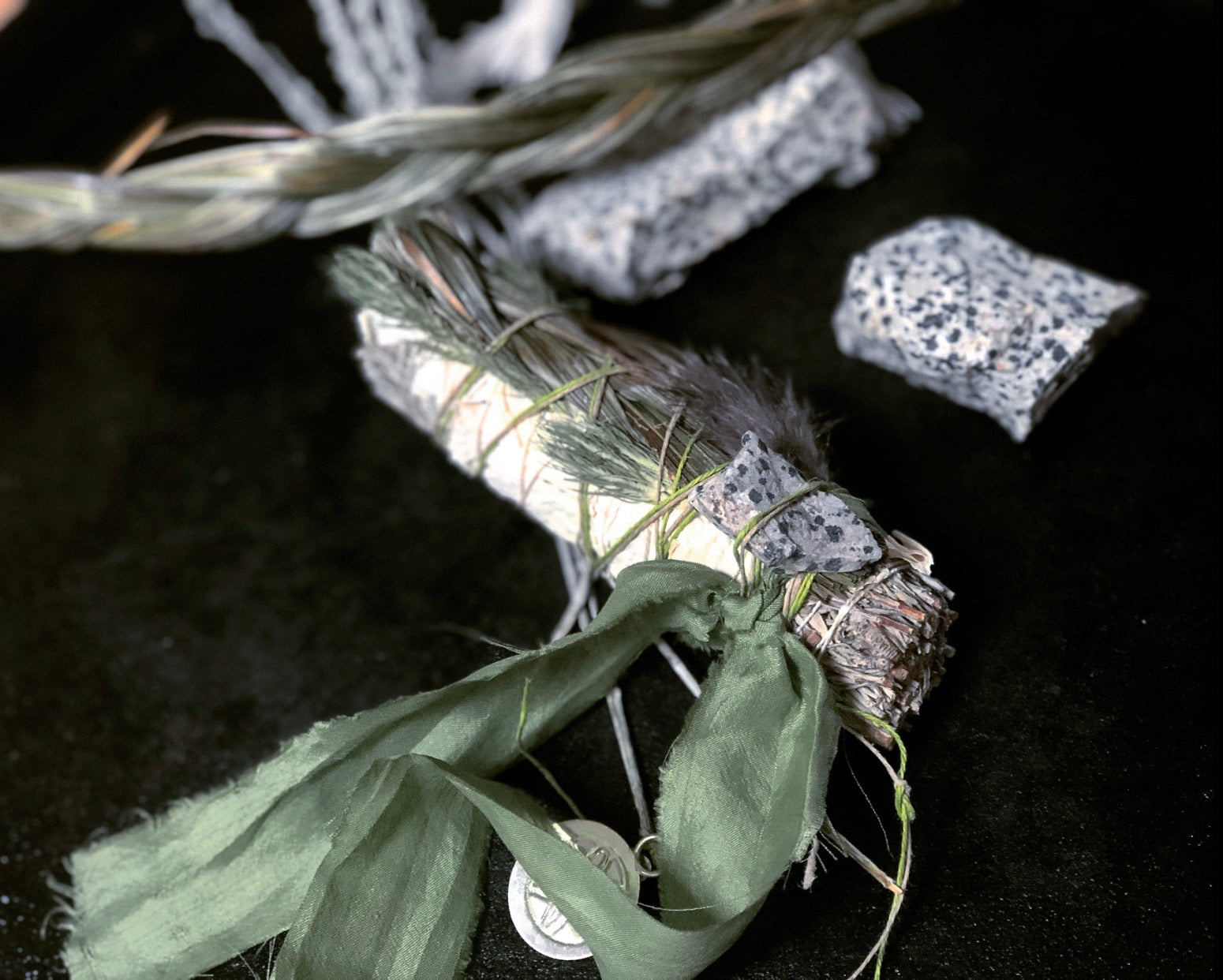 SACRED SAGE STICK with SWEETGRASS + Jasper Healing Stone + Abalone Shell