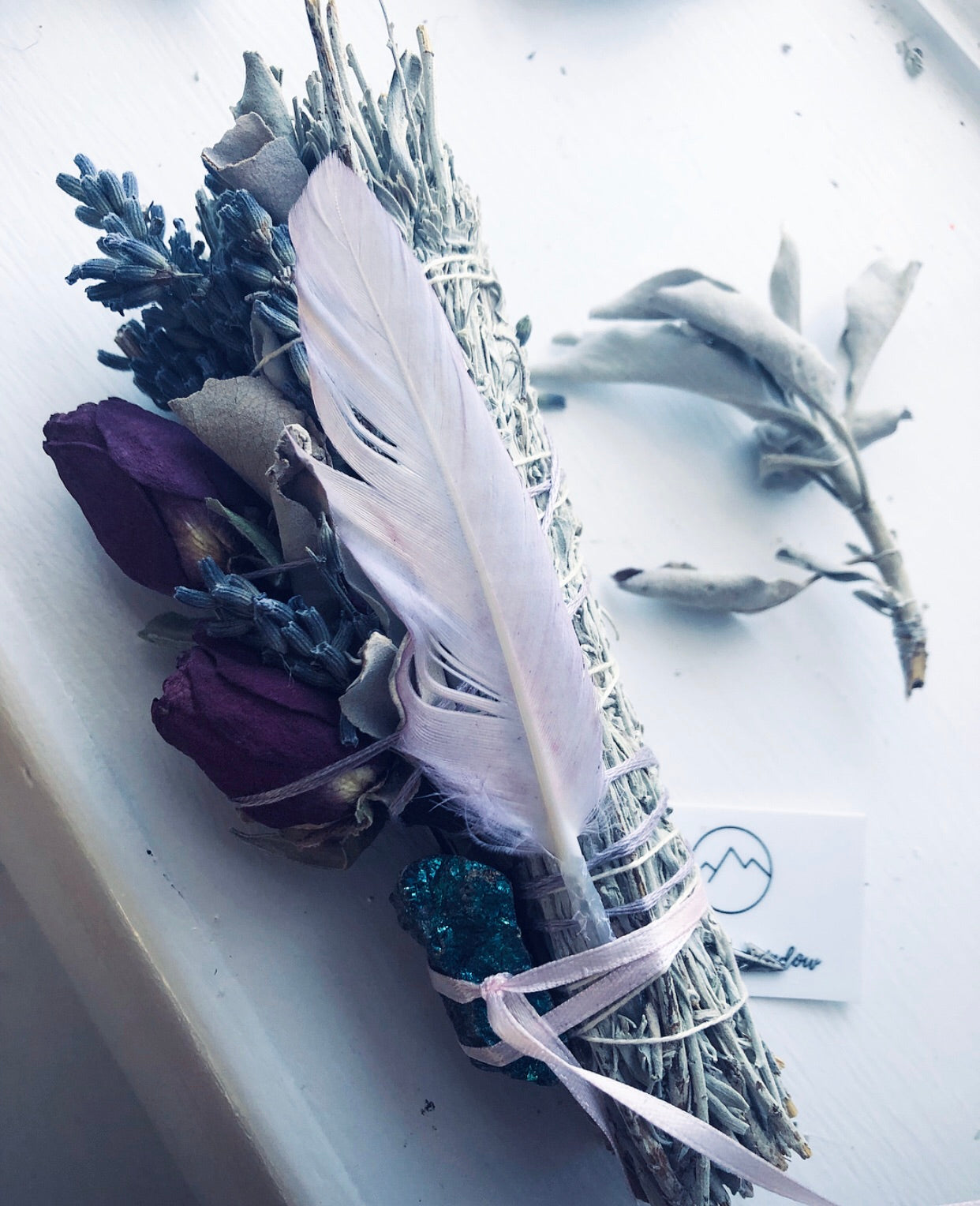 LAVENDER SAGE SMUDGE STICK with PEACOCK ORE CRYSTAL