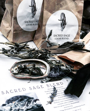 SACRED SAGE BLEND / LOOSE BLACK SAGE LEAVES  + CEDAR + LAVENDER / with Abalone Shell + Amethyst
