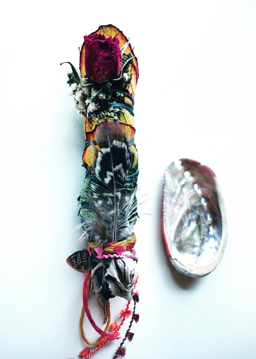 DIVINE SAGE SMUDGE STICK + SWEETGRASS