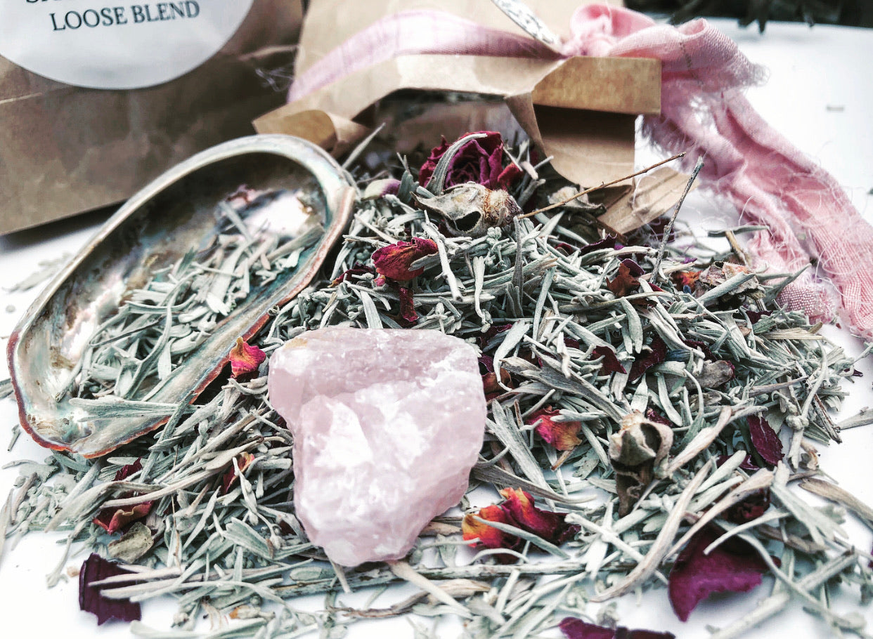 SACRED SAGE BLEND + Rose Quartz + Abalone Shell