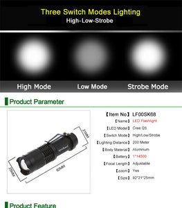 Waterproof Tactical LED - Zoomable 3 Mode/Rechargeable