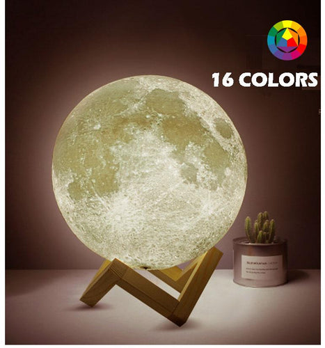 Rechargeable Moon Lamp - 16 Color LED With Remote