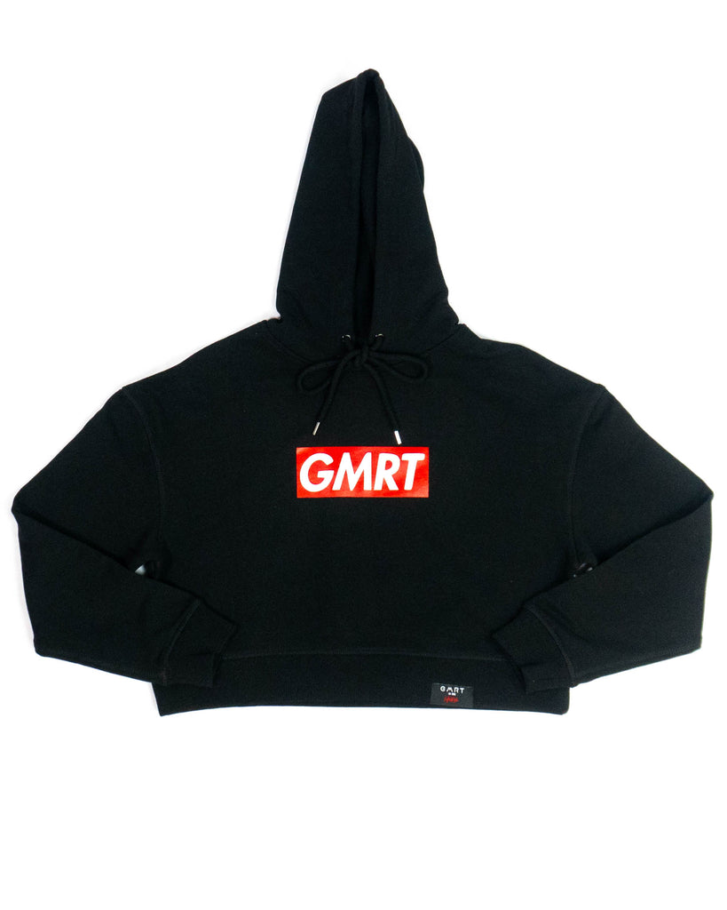 GMRT 'Preme' Black Heavy weight Crop Hoodie