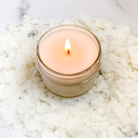 candle burning with soy wax