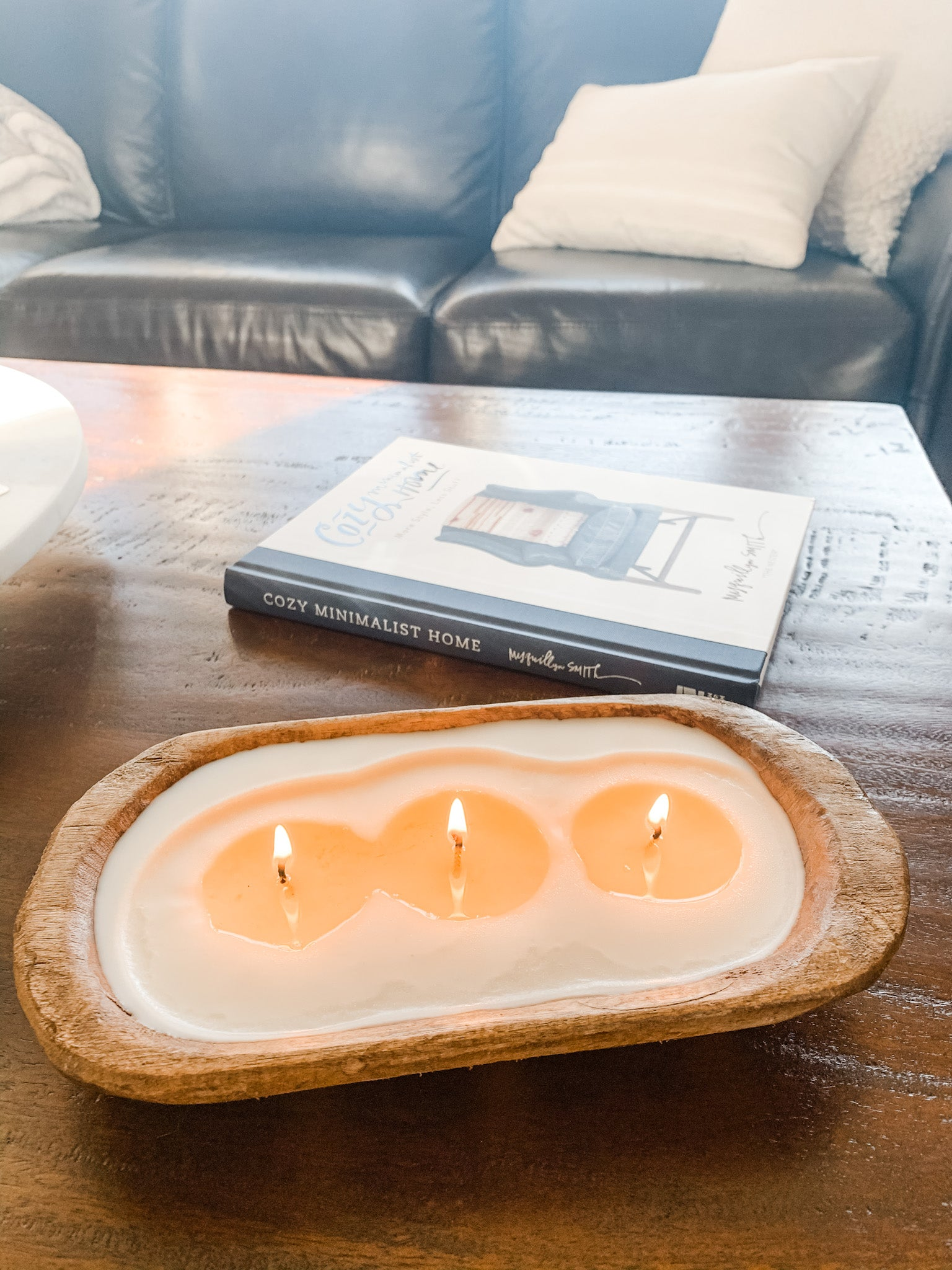 wood dough bowl candle