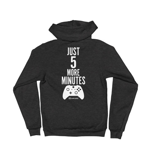 Just 5 More Minutes (Gamer) - Adult Zip Up Soft Warm Hoodie