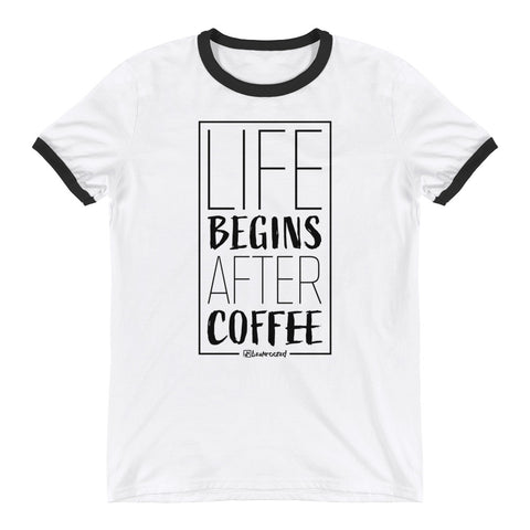 Life Begins After Coffee - Mens Ringer T-Shirt