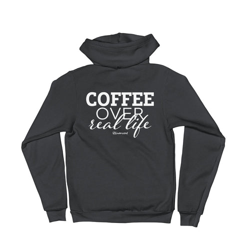 Coffe Over Real Life - Adult Zip Up Soft Warm Hoodie