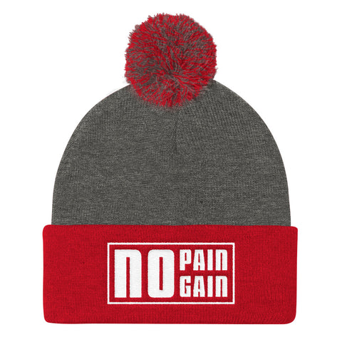 No Pain No Gain - Pom Pom Knit Cap