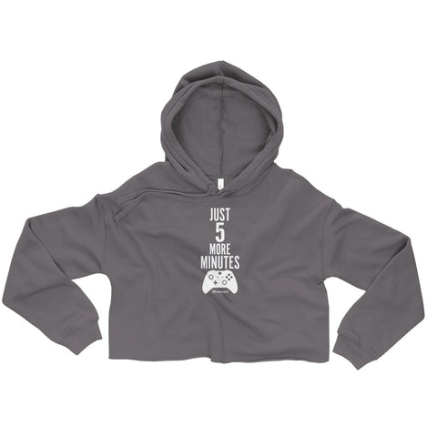 Just 5 More Minutes (Gamer) - Womens Cropped Super Soft Hoodie