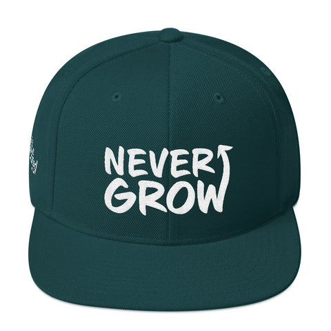Never Grow Up - Flat Bill Snapback Hat