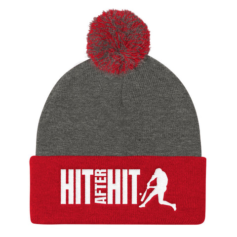 Hit After Hit (Baseball/Softball) - Pom Pom Knit Cap