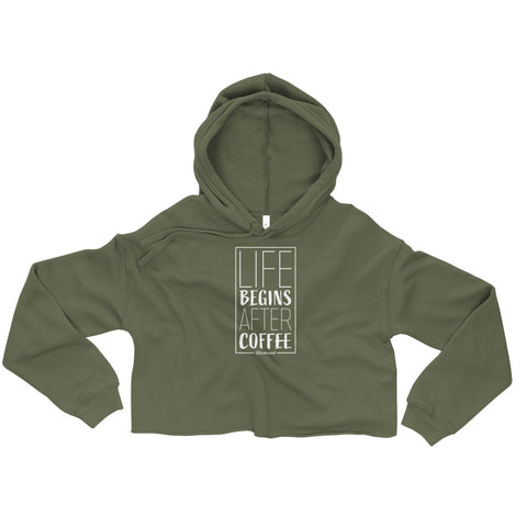 Life Begins After Coffee - Womens Cropped Super Soft Hoodie