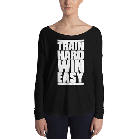 Train Hard Win Easy - Womens Soft Flowy Long Sleeve Shirt
