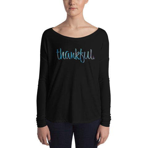 Thankful - Womens Soft Flowy Long Sleeve Shirt