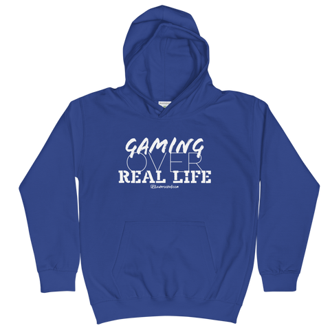 Gaming Over Real Life - Kids Soft Comfy Fit Hoodie