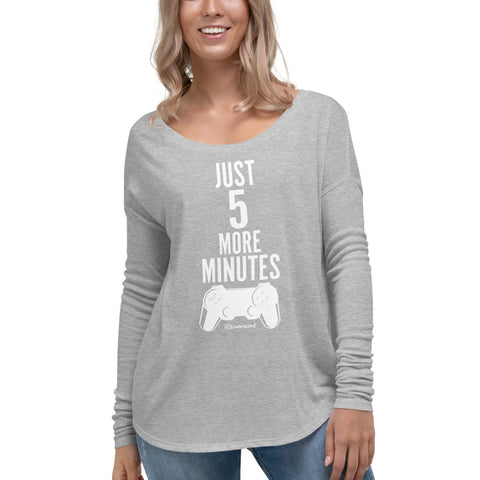 Just 5 More Minutes (Gamer) - Womens Soft Flowy Long Sleeve Shirt