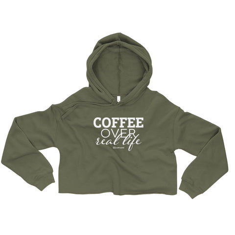 Coffee Over Real Life - Womens Cropped Super Soft Hoodie