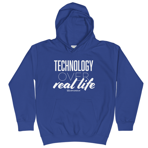 Technology Over Real Life - Kids Soft Comfy Fit Hoodie