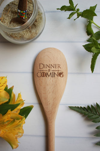 Dinner Is Coming Wooden Engraved Spoon