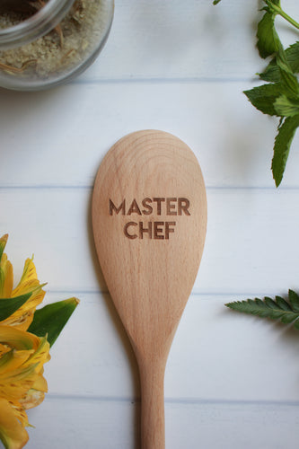 Master Chef Wooden Engraved Spoon