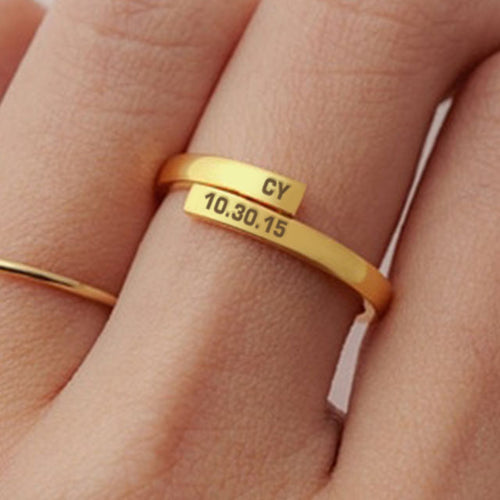 Personalized Ring Customize Engraved Names 3 Colors Available Adjustable Rings for Men & Women Sober Date Name
