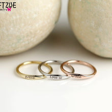 14K Gold Filled Custom Skinny Stacking Rings Personalized
