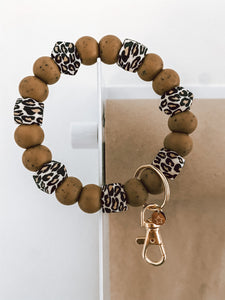 speckled brown + mini hex leopard // bracelet keychain