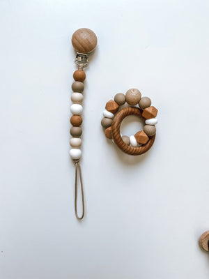 muted camel, mocha, beige + white | pacifier clip