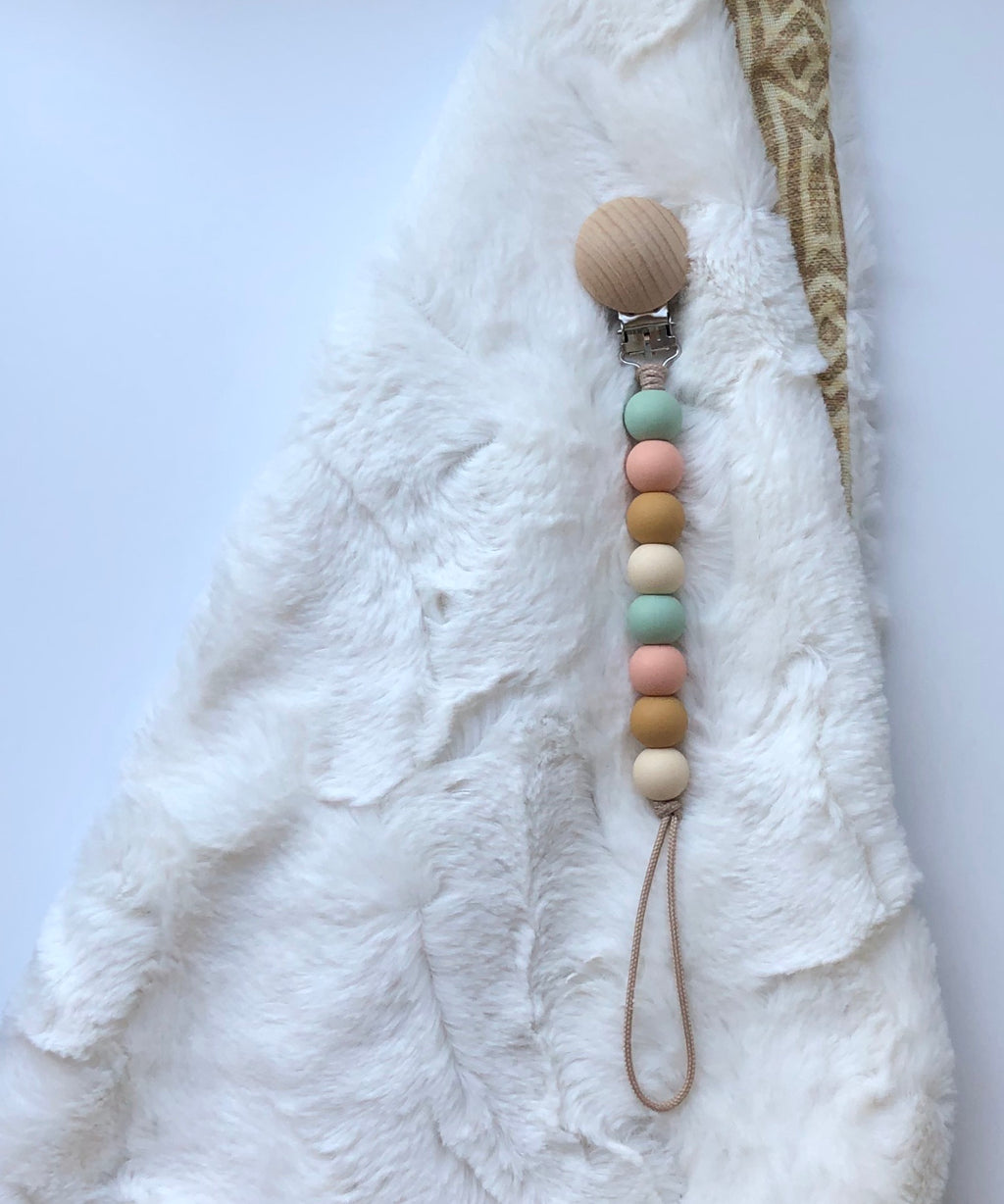 pacifier clip (smoky mint, peach, mustard + beige)