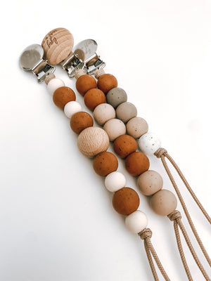 fall collection // pacifier clip (speckled hazelnut, ivory + beech wood)
