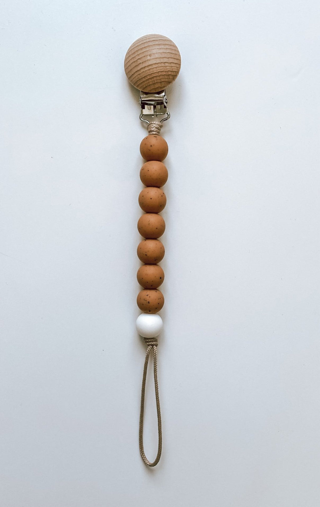 muted camel + white // pacifier clip